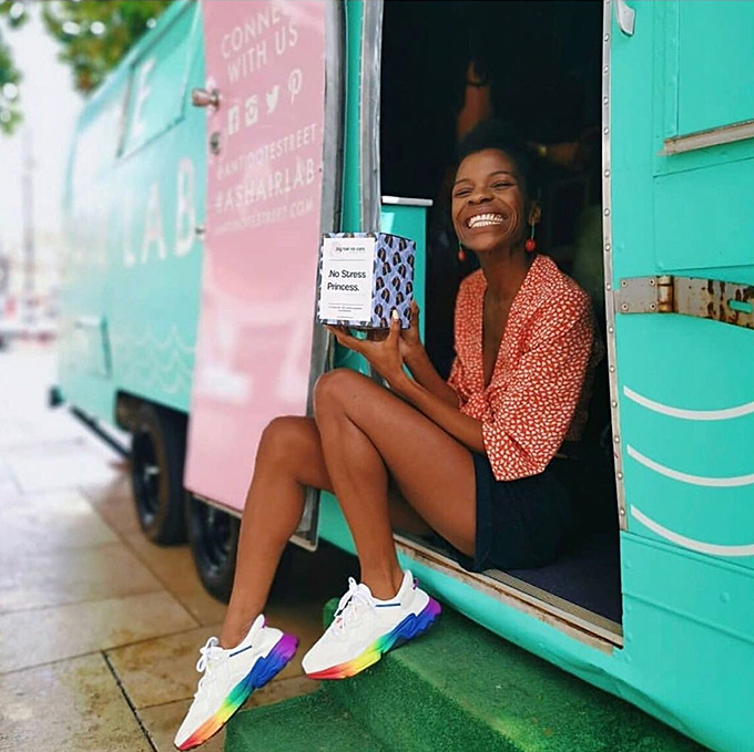 Blogger and entrepreneur Frédérique Harrel on the Antidote Street Hair Lab Tour Bus
