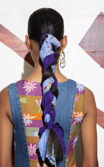 Johnathan Cohen scarf hairstyle