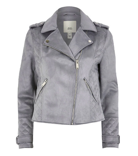 M&CO Real Suede Grey Biker Jacket
