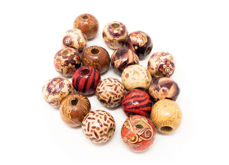 16mm Round Printed Wooden Beads