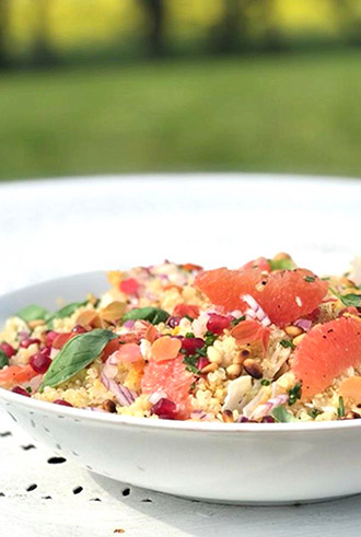 Quinoa Cauliflower Salad with Grapefruit and Pine Nuts