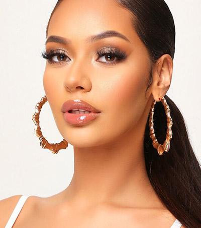 Hoop bamboo earrings