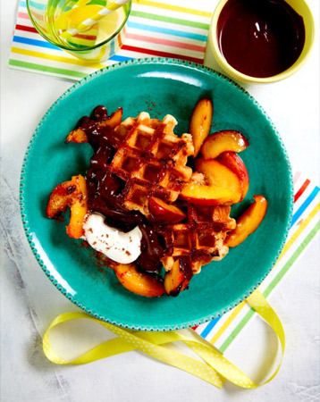 Peachy Plum Waffles with Chocolate Drizzle