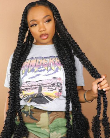 Jumbo braids with leave out