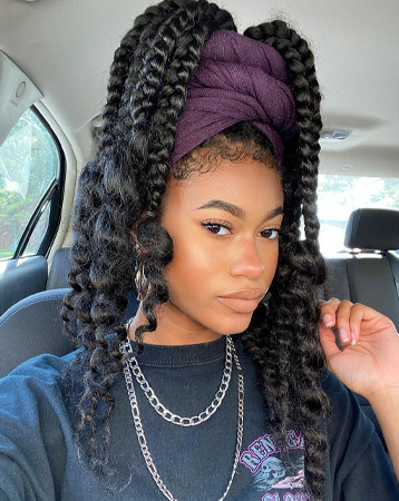 Jumbo braids with headscarf and leave out