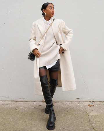 Chunky black over-the-knee boots