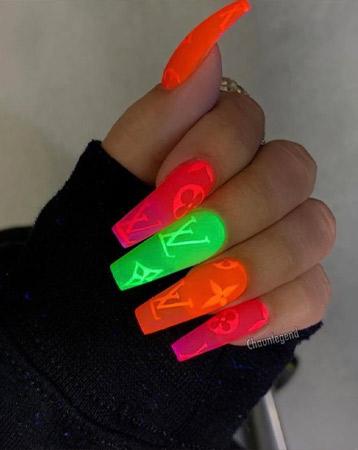 Designer logo nail manicure