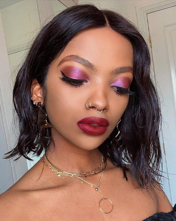 Pink and red makeup