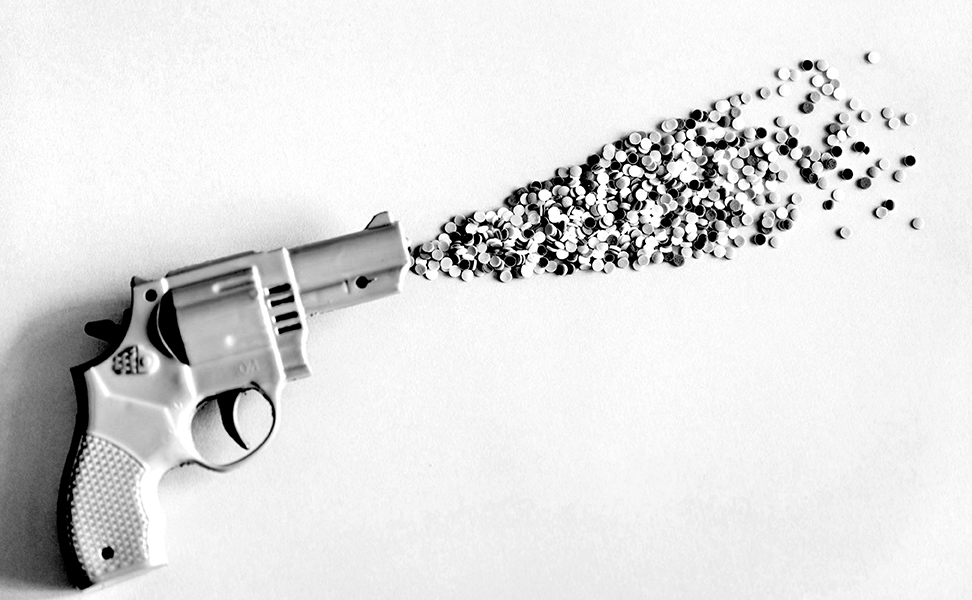 Toy gun and candy