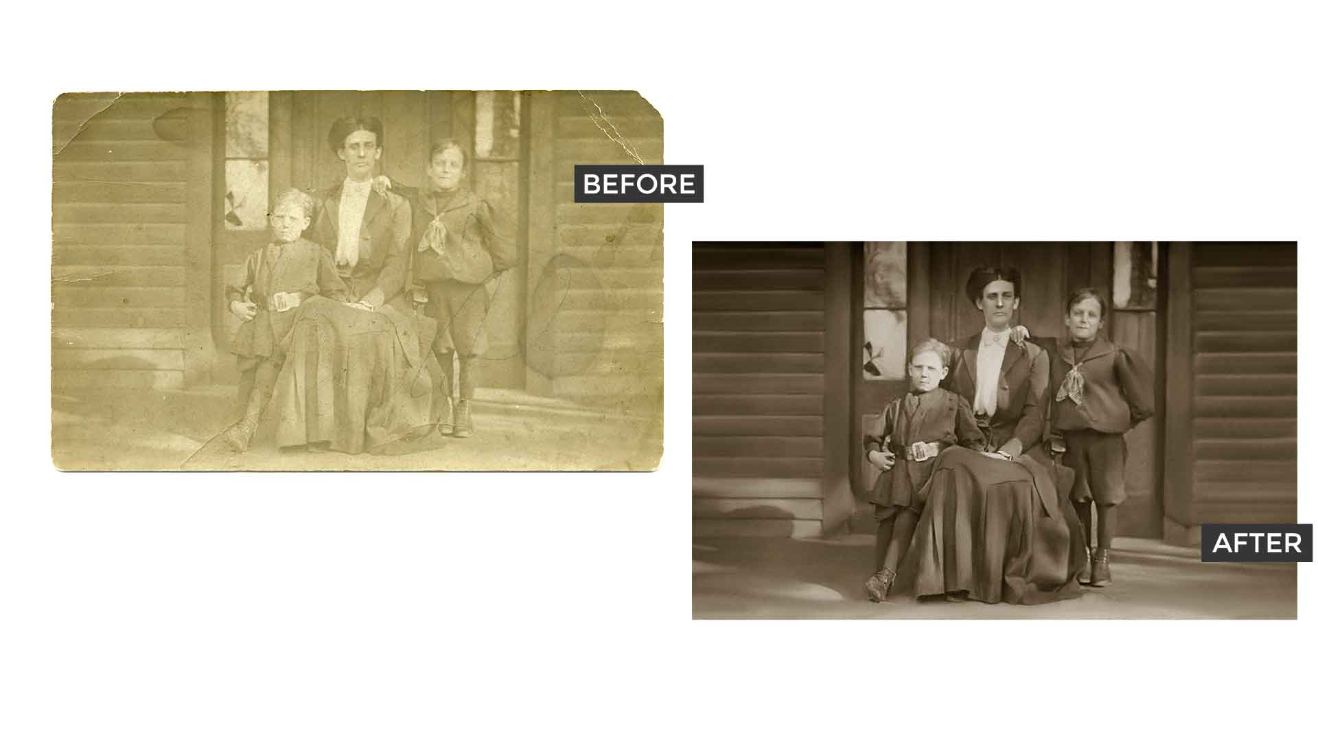 Before and after photo retouching