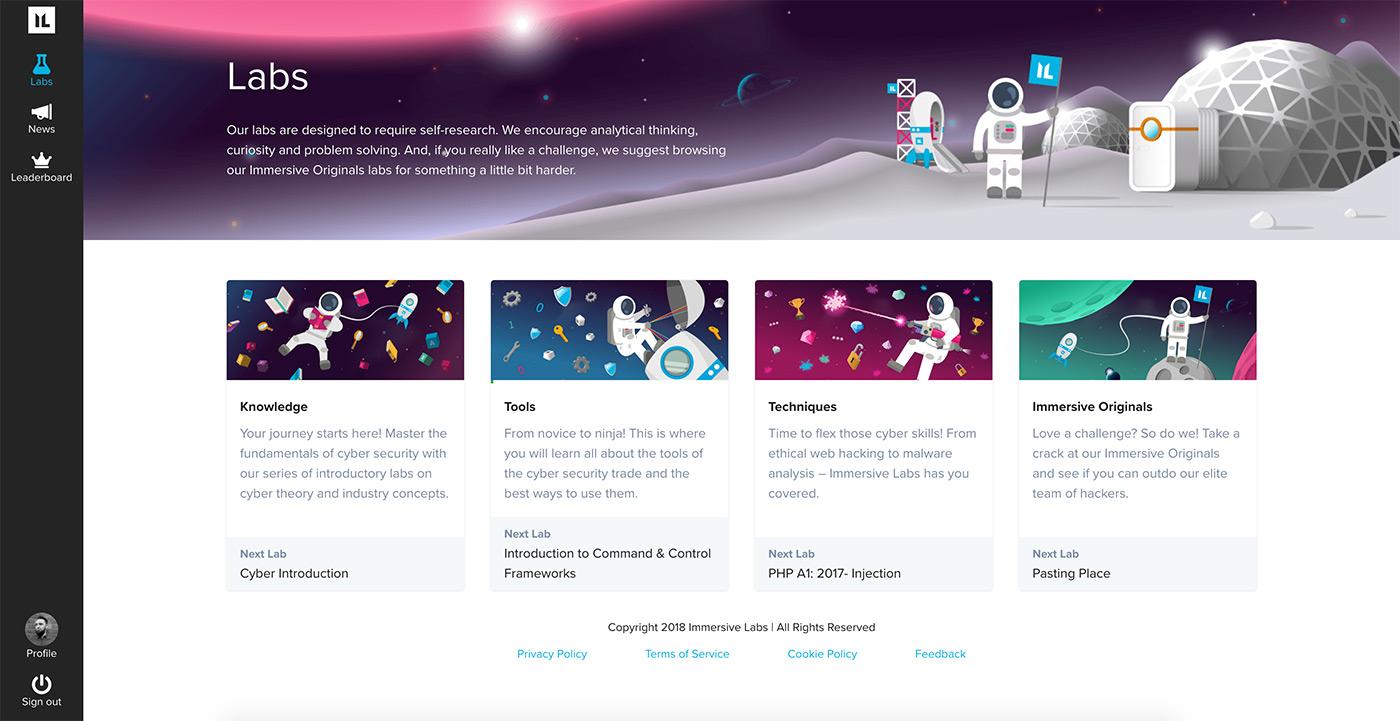 A screenshot from the Immersive Labs platform on desktop