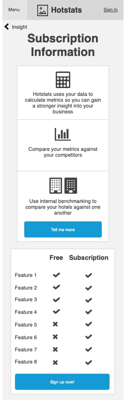 An early Subscription package wireframe for Hotstats.