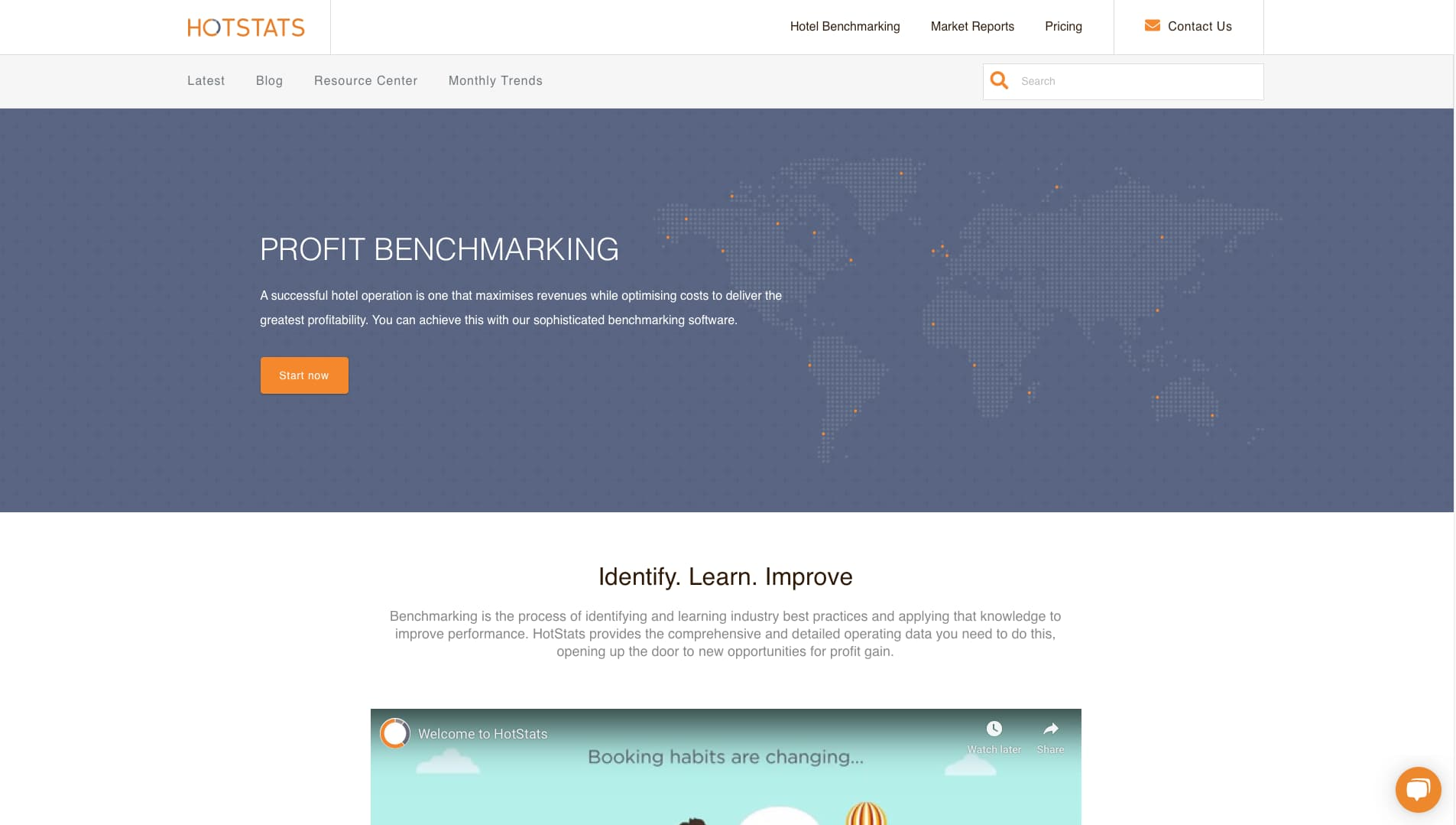 A screenshot of the Hotstats Profit Benchmarking Page