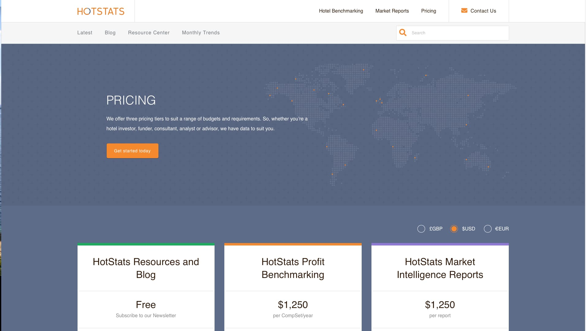 A screenshot of the Hotstats Pricing Page