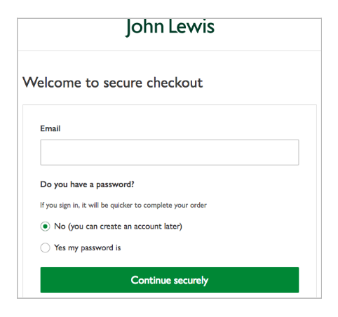 John Lewis ecommerce site abandonment recovery example