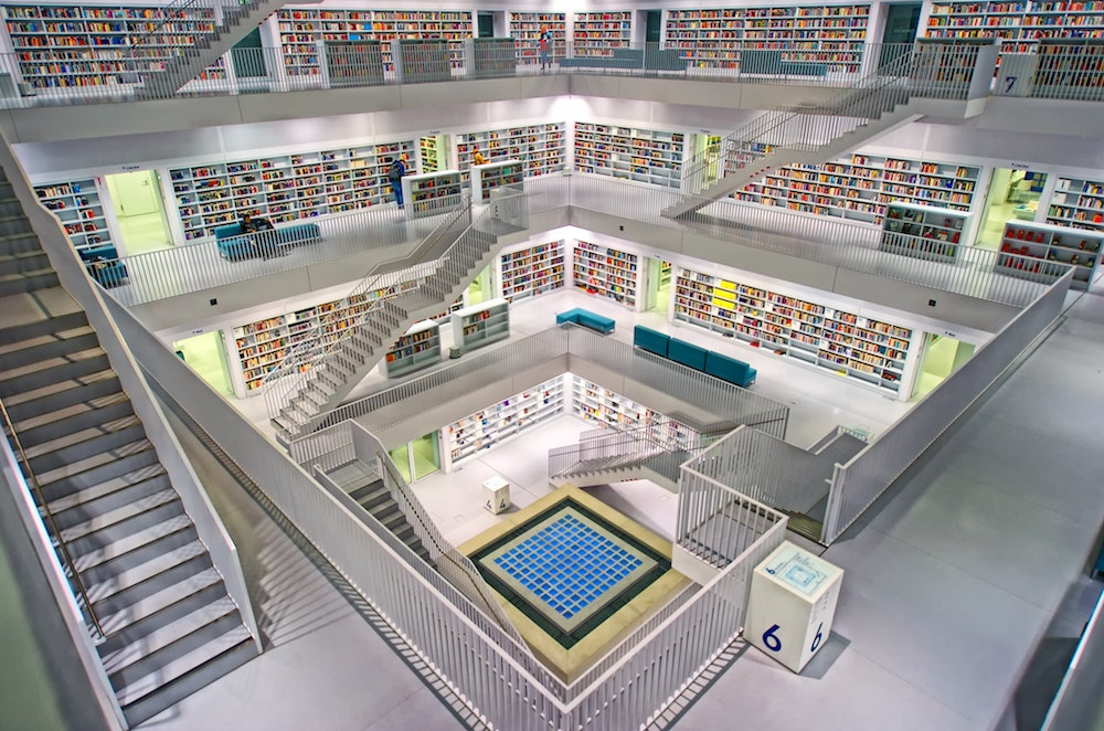 multi level library with multiple staircases