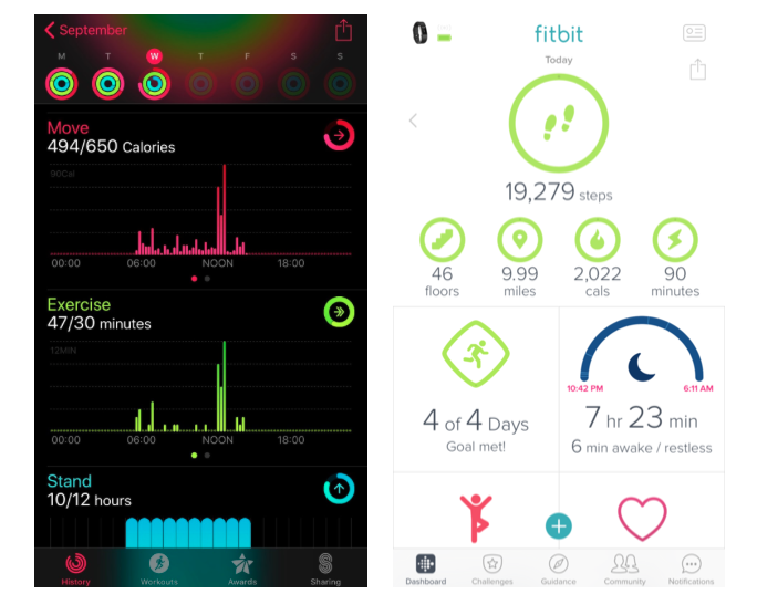 A comparison of how Apple Health and Fitbit display their information on mobile