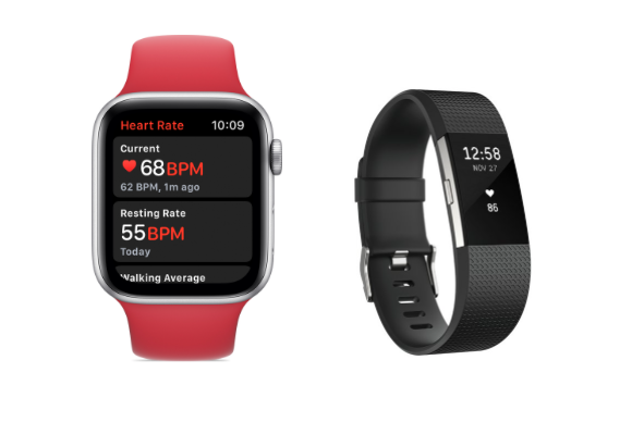 A comparison of how Apple Watch and Fitbit display heart rate monitors on the watch screens