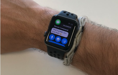 David Crossland's Apple Watch displaying a message
