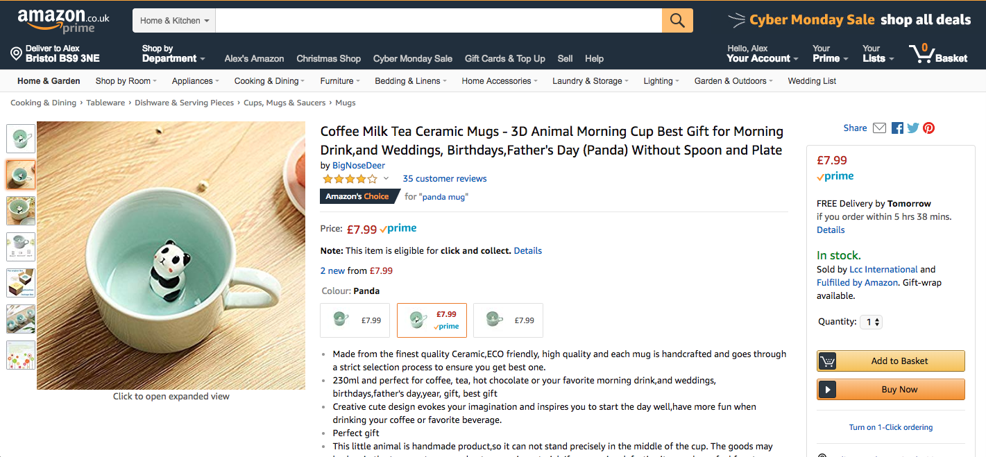 A typical product page on the Amazon.co.uk site