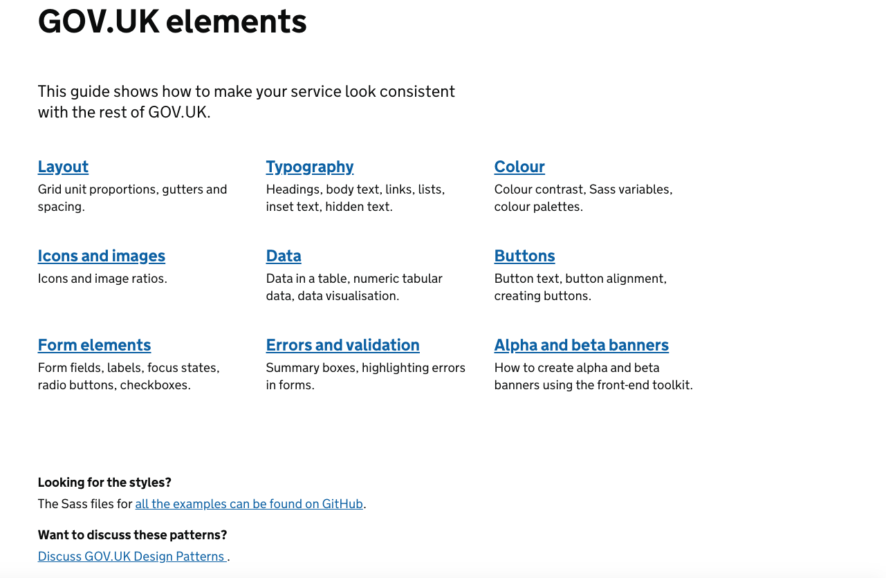 The contents section of the Gov.UK design system showing the areas covered, including typography, colour and form elements