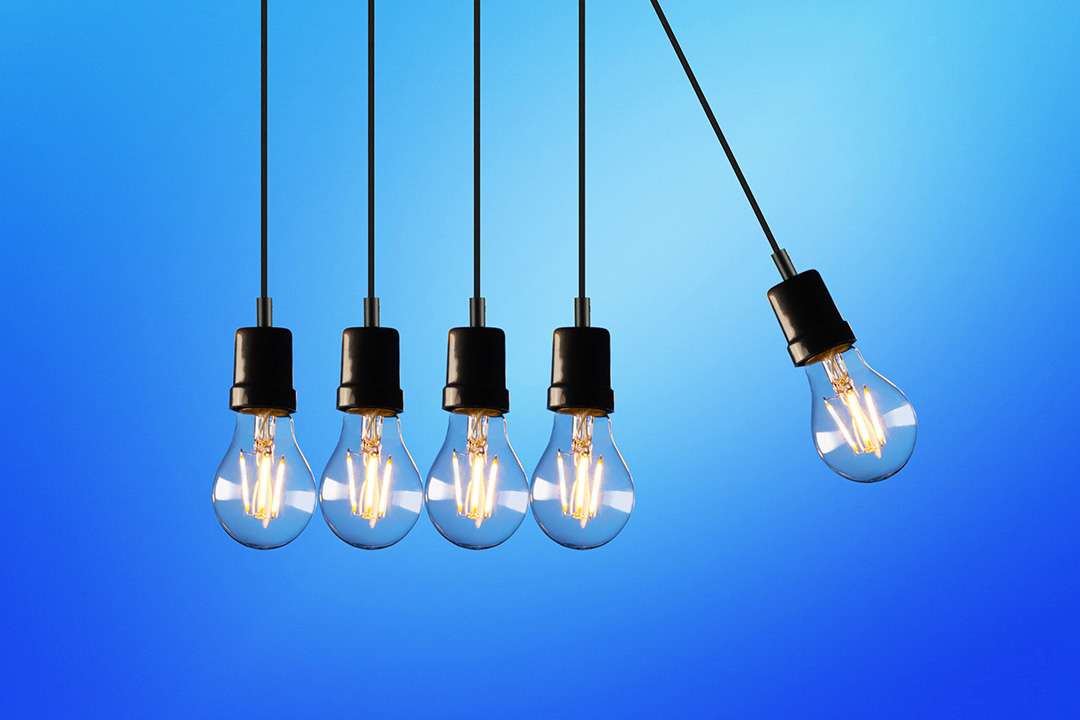 Improve your skills, light bulbs in a row.