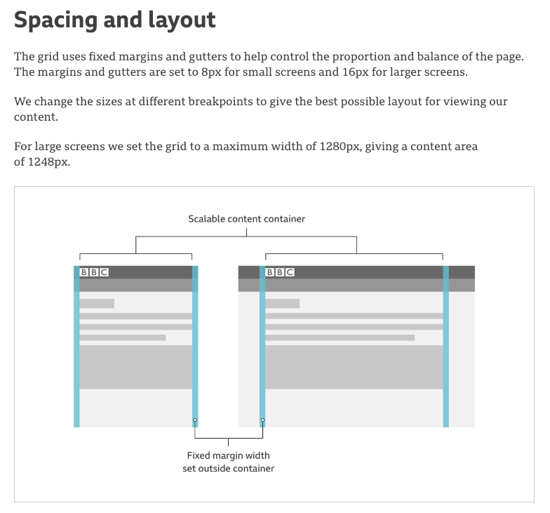 Spacing and layout guidelines from the BBC design system