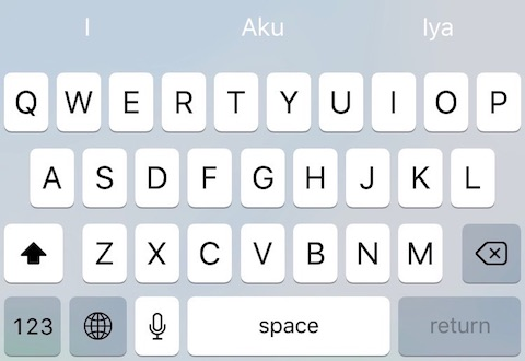 The text keyboard on apple iPhone