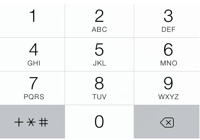 Alphabet keyboard alongside numbers on a typical phone UI