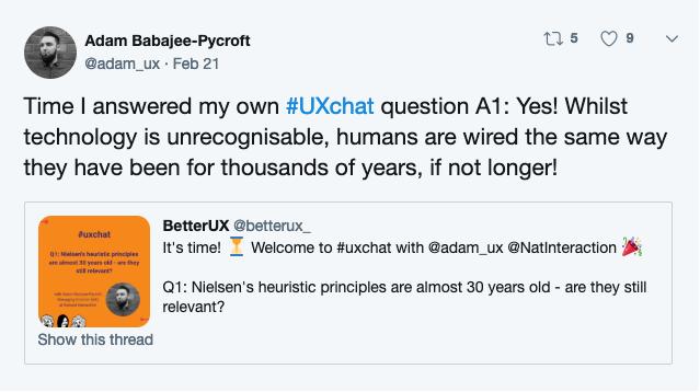 Adam_UX on twitter talking about Neilsen's heuristic principles