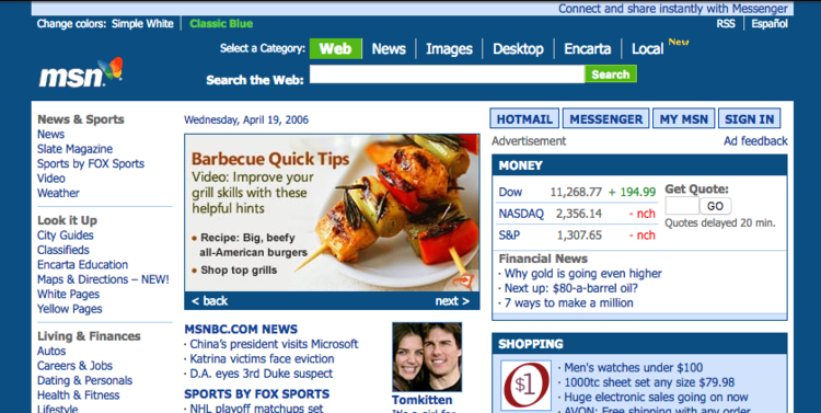 An example of how the MSN.com website used to look like in the early 2000's.