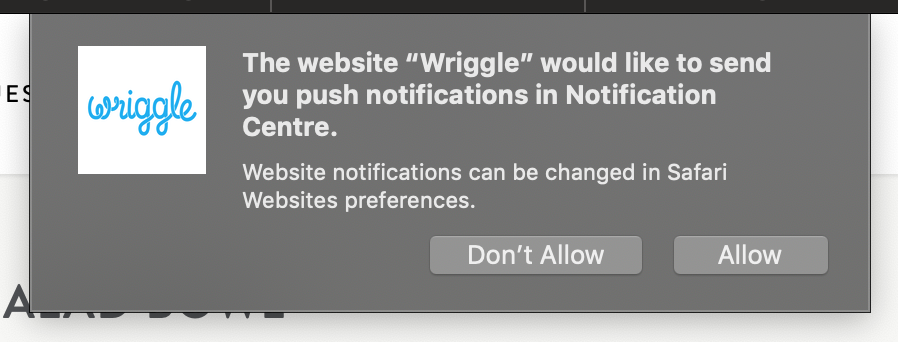 A push notification from the Wriggle app seen on Mac computers.