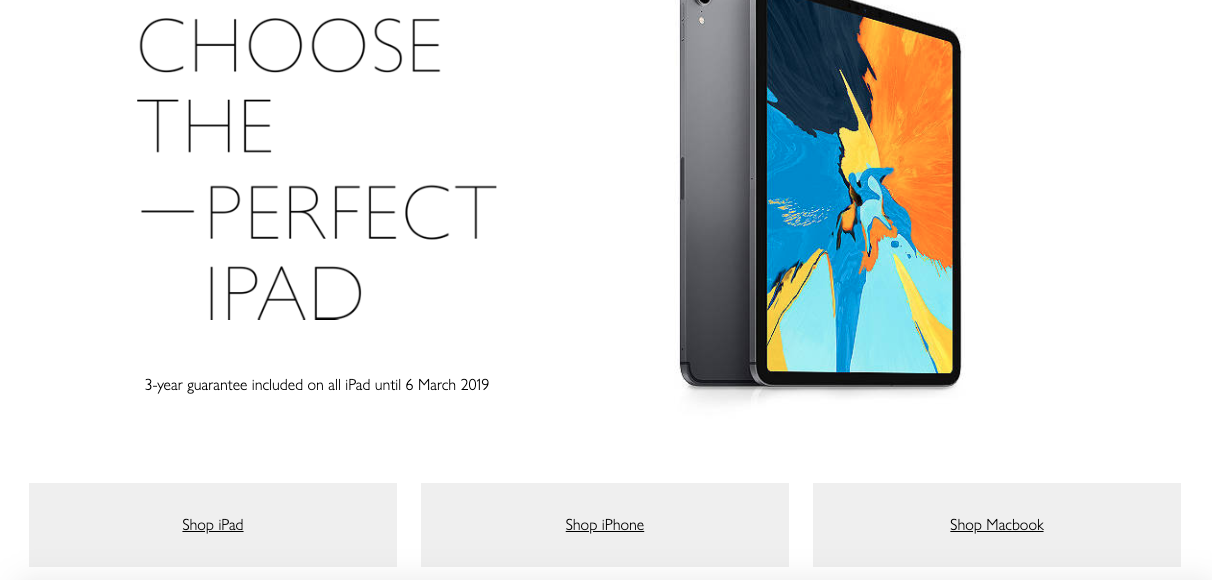 The iPad section of the apple website