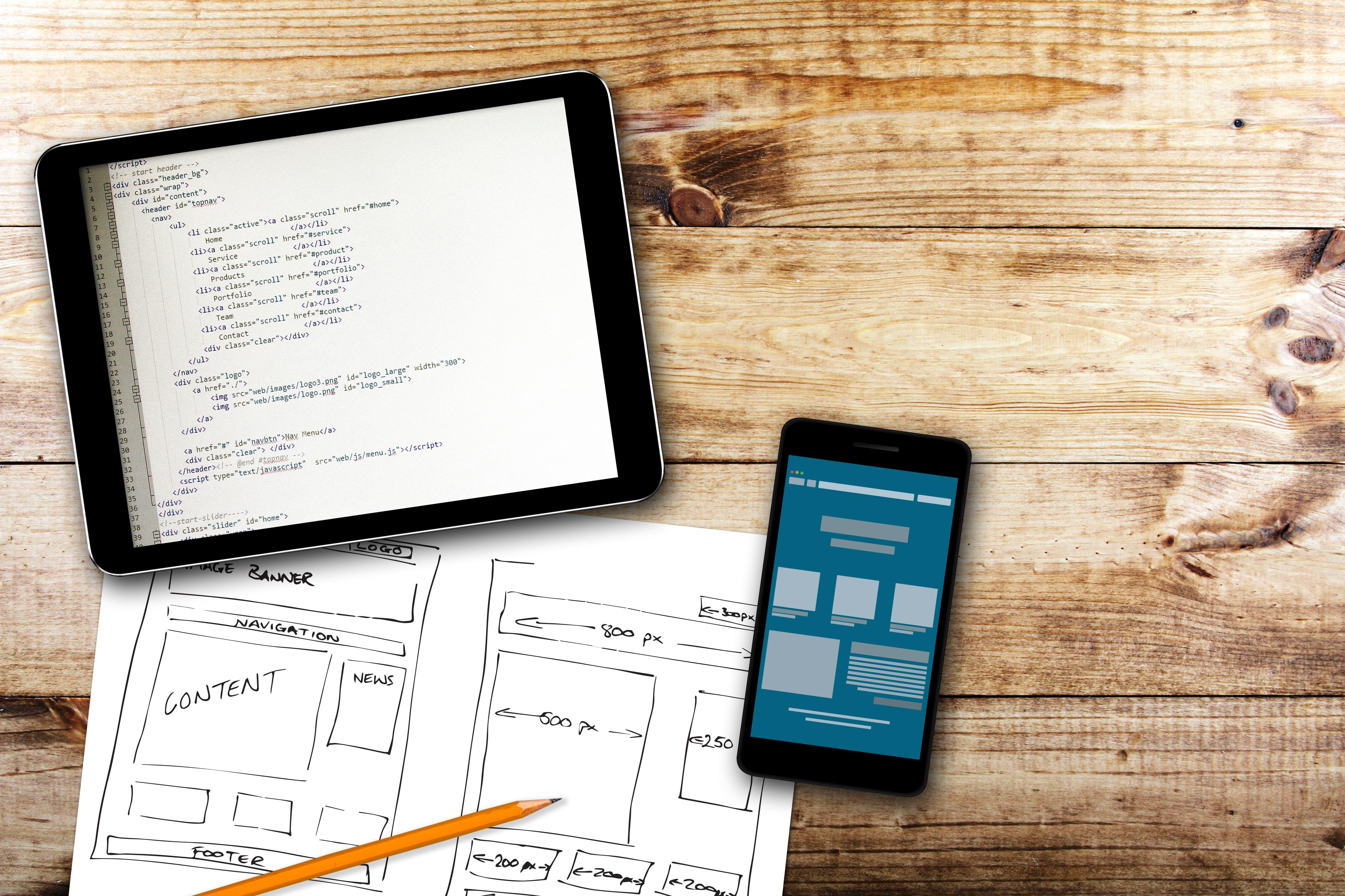 Code,wireframes and digital design