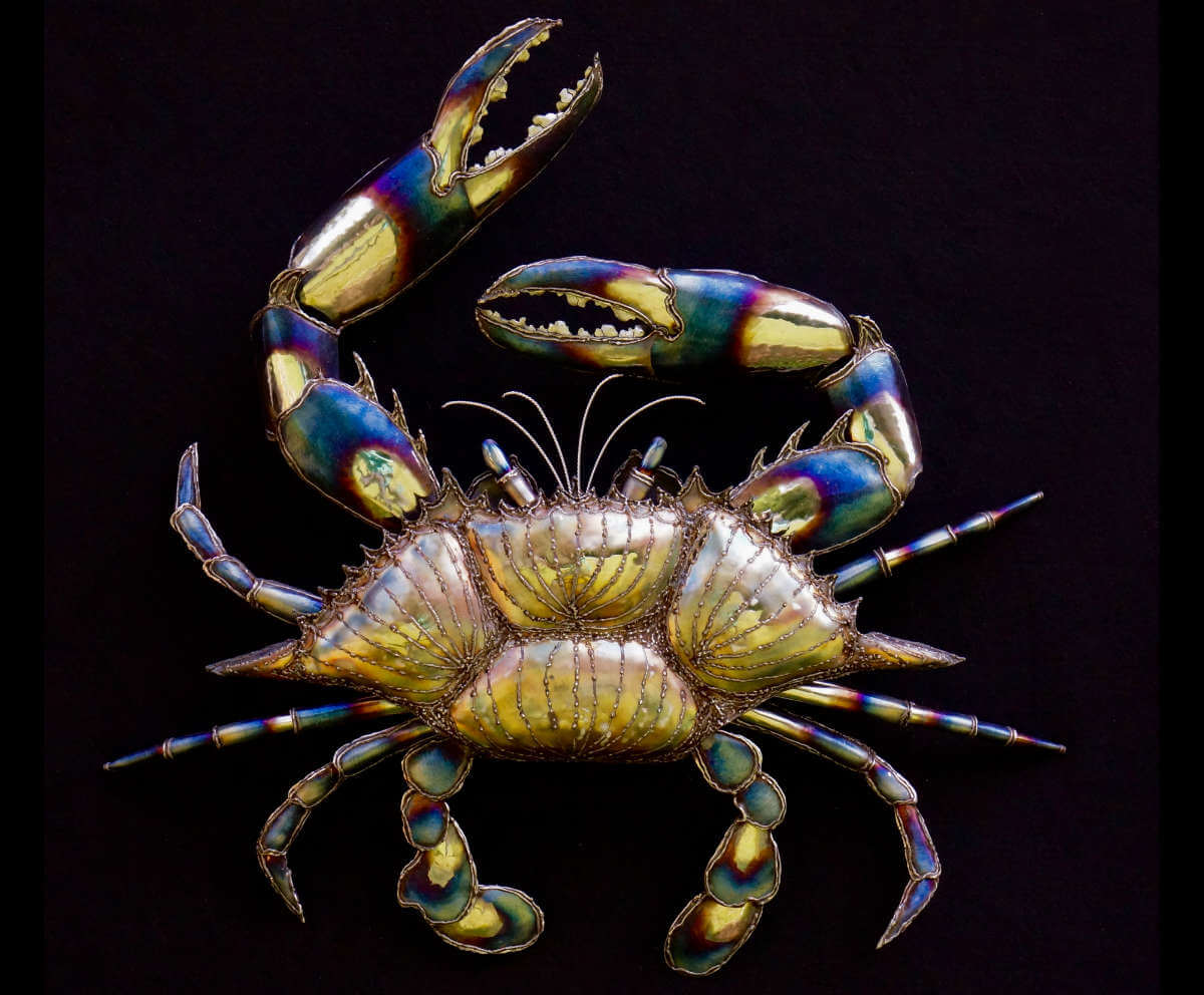Magic crab polished metal sculpture