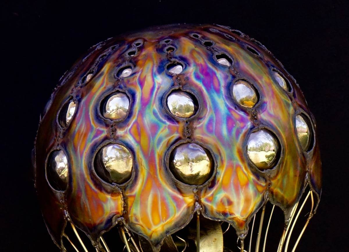 Detailed close up of metal jellyfish bell