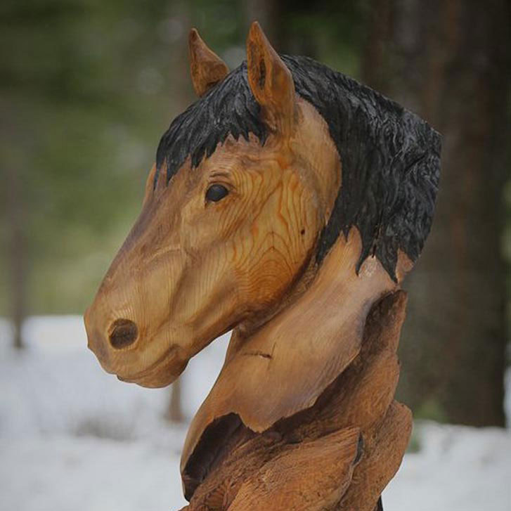Wood carved horse bust