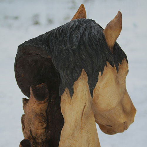 Wood carved horse bust rear angle
