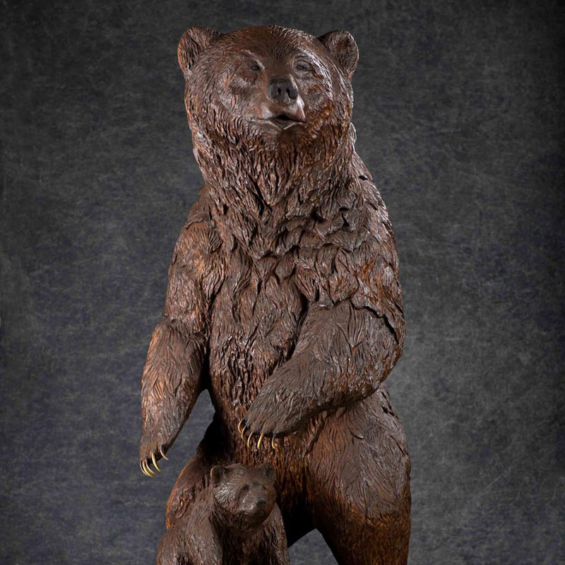 Wood Carved XL Grizzly Sow and Cub