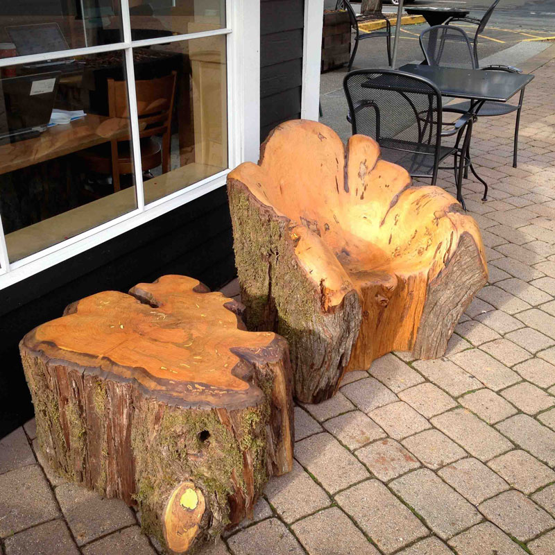 Chair and table carved from cypress wood
