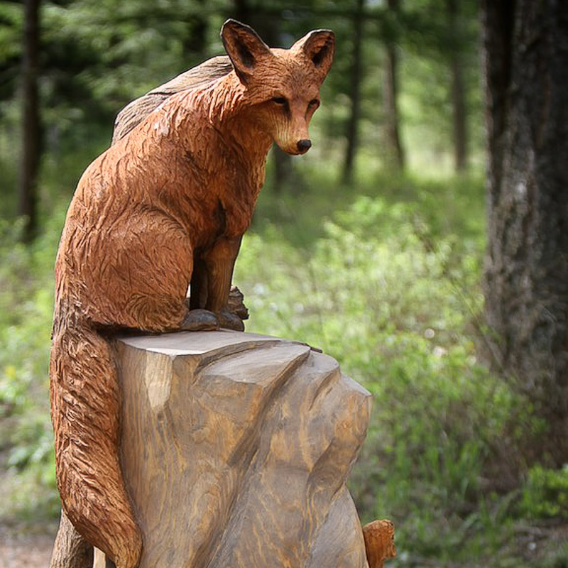 Wood carved Bench with Red Fox