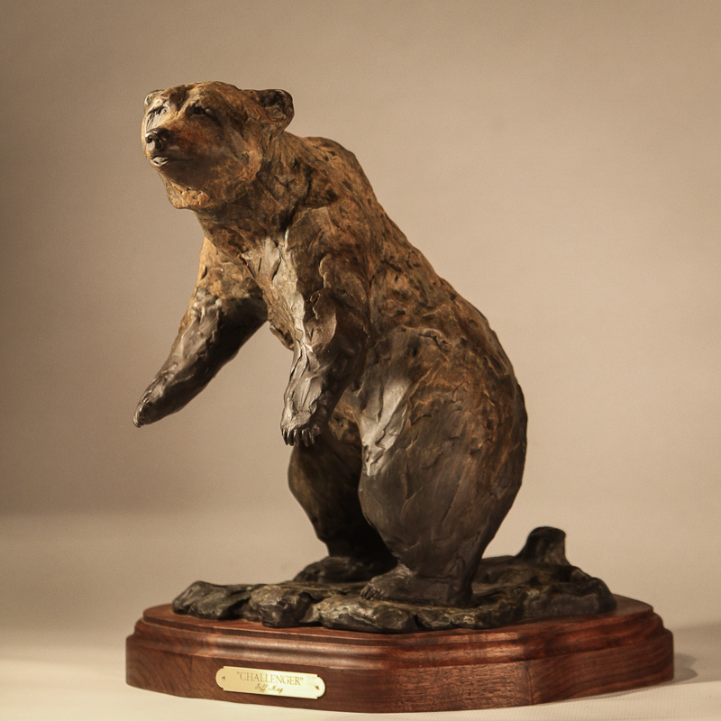 Standing Grizzly Bronze Sculpture