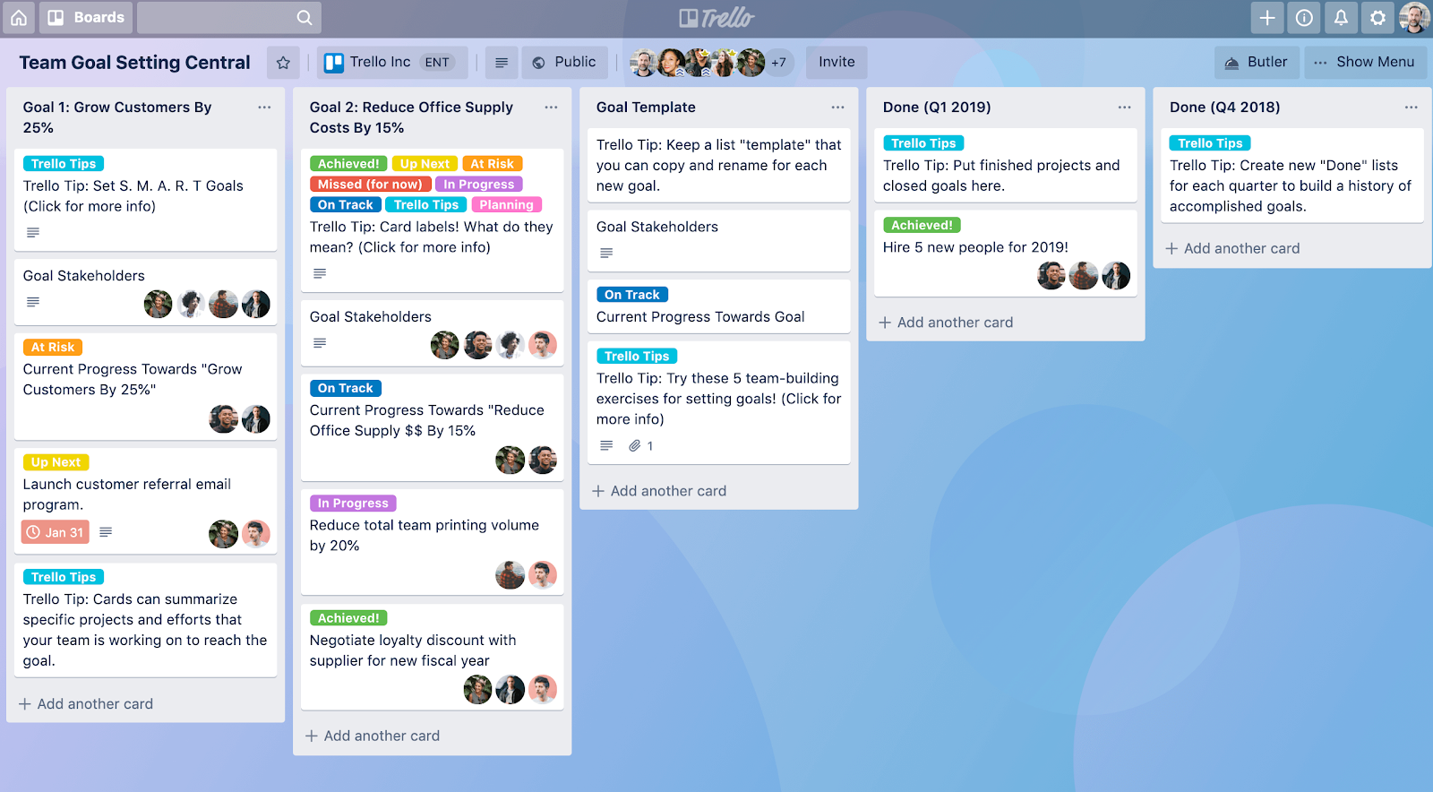 Screenshot of a project board in productivity software Trello.