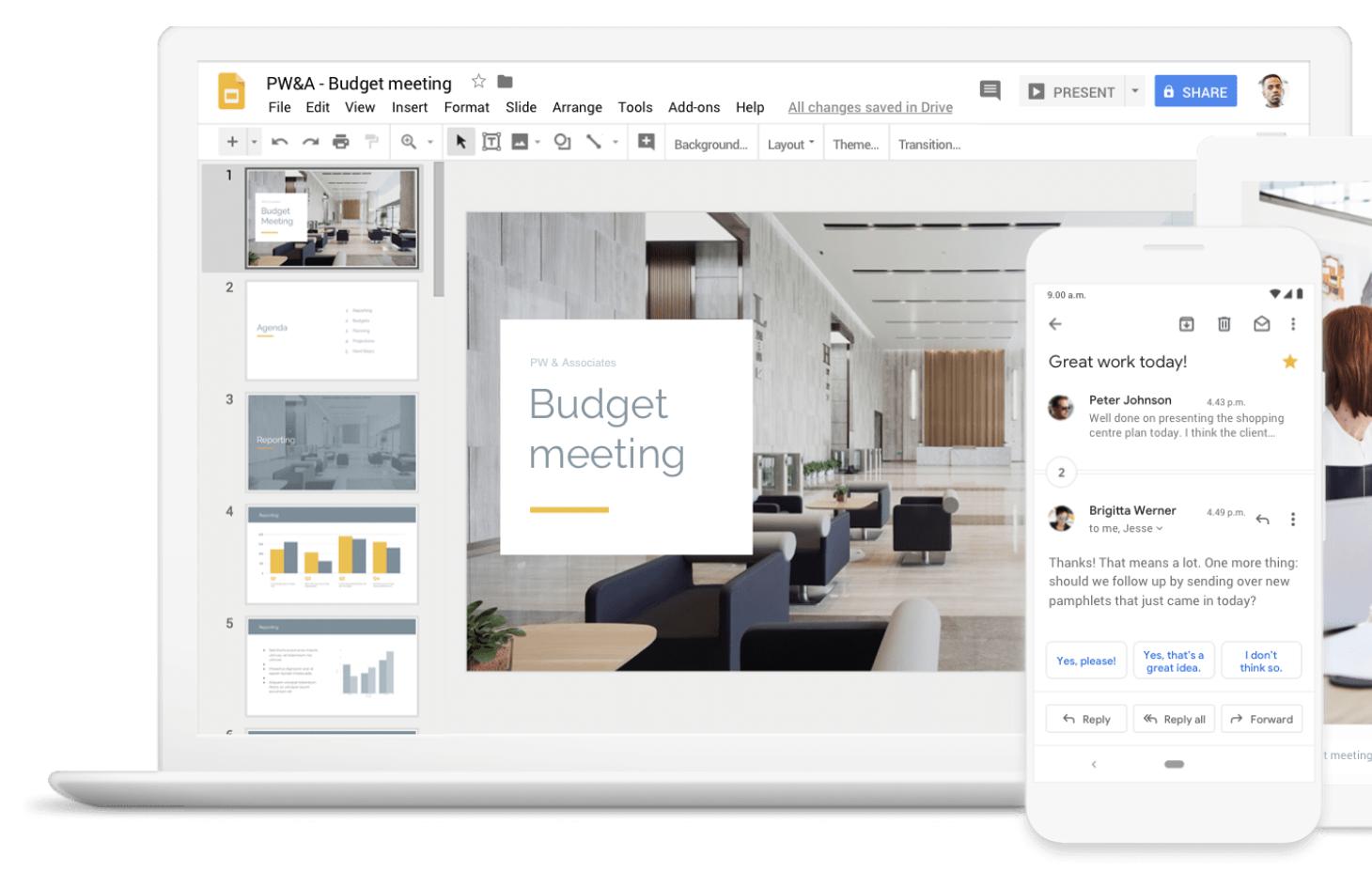 Screenshot of productivity app G Suite.