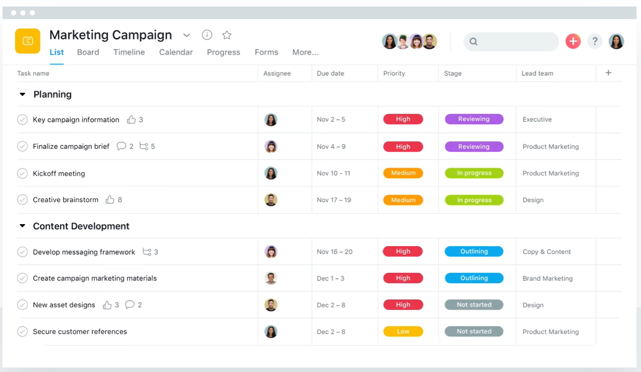 Screenshot of Asana project management software.