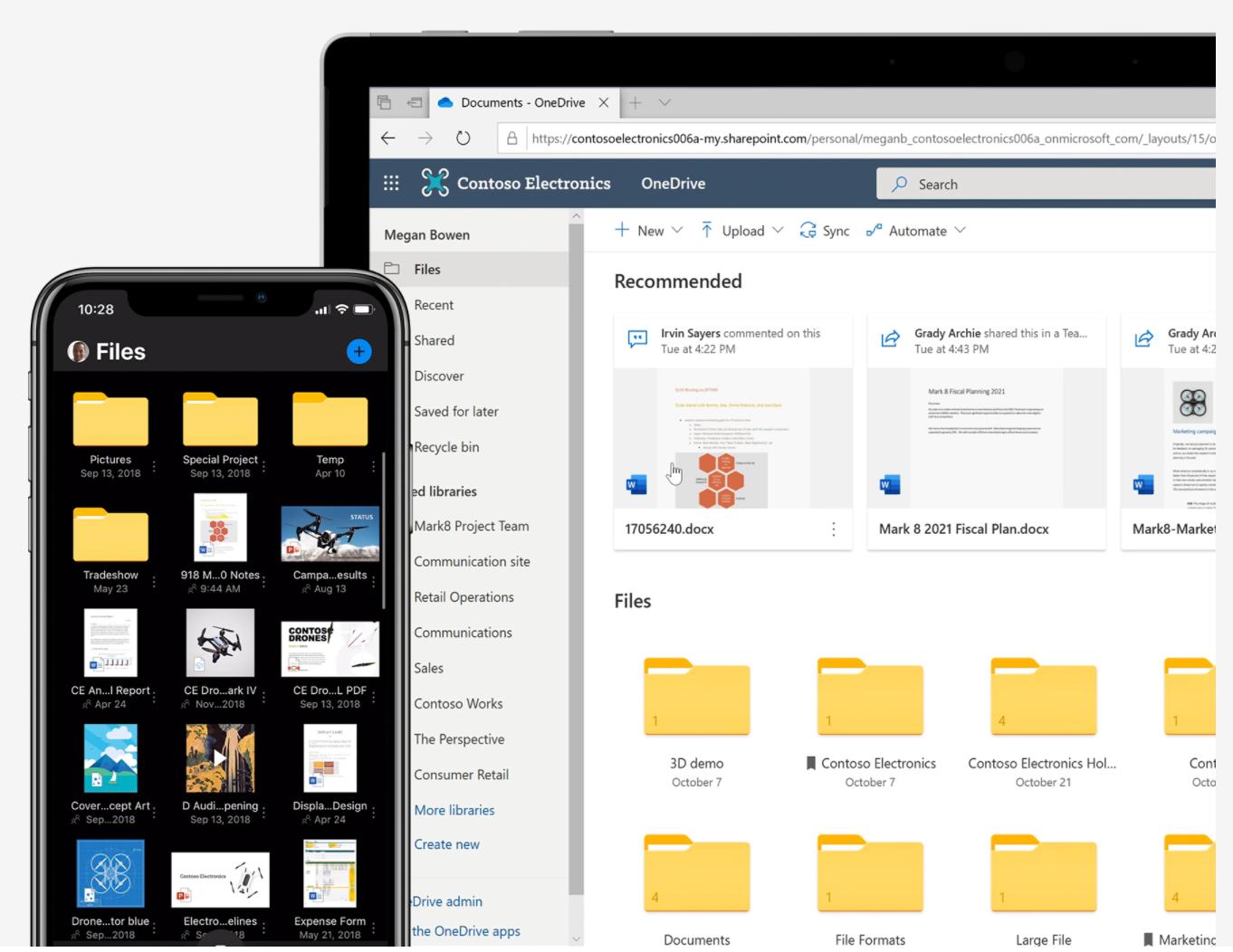 Screenshot of Microsoft Office 365 cloud storage.