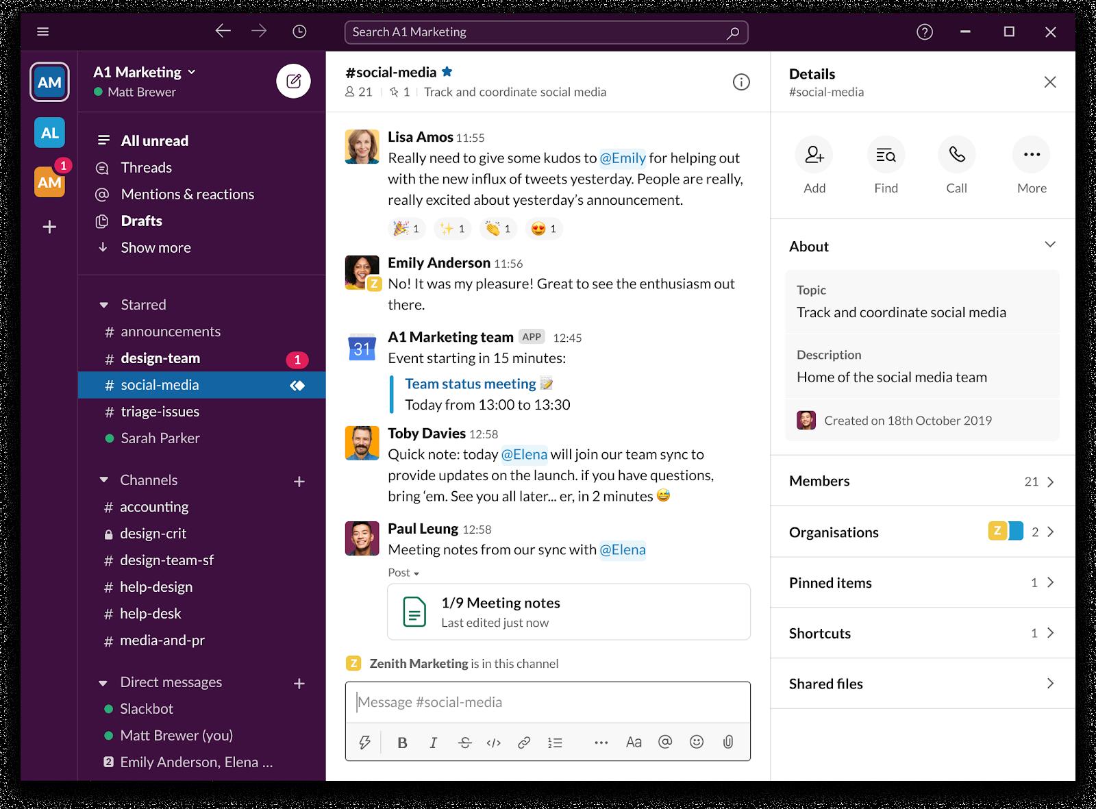 Screenshot of Slack instant messaging platform.