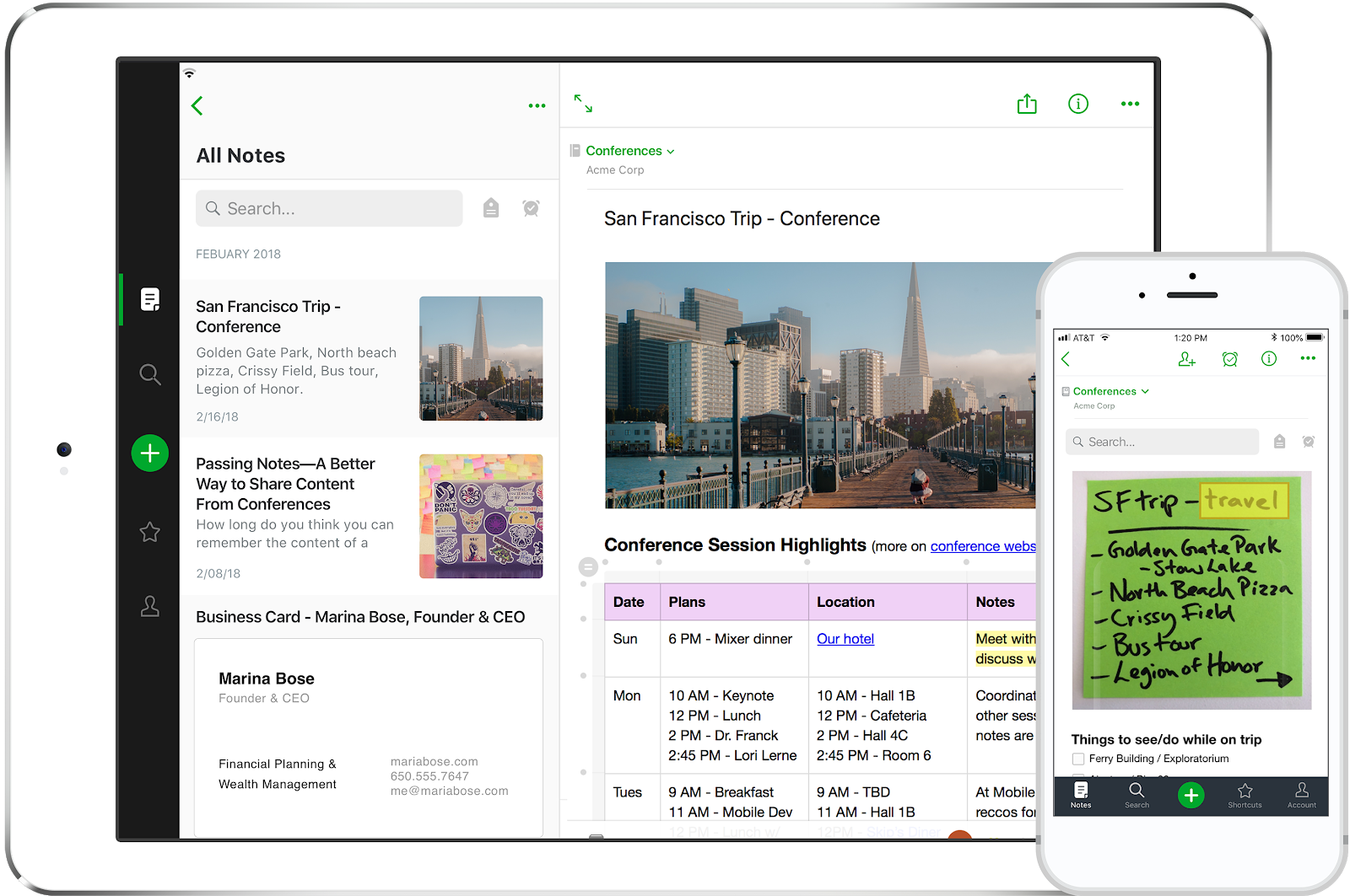 Screenshot of the productivity app Evernote on a phone and tablet.