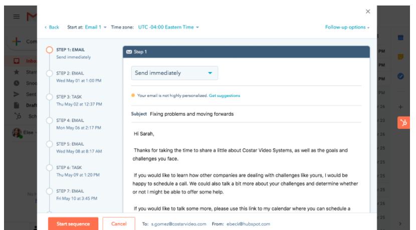Screenshot of Hubspot sales automation tool.