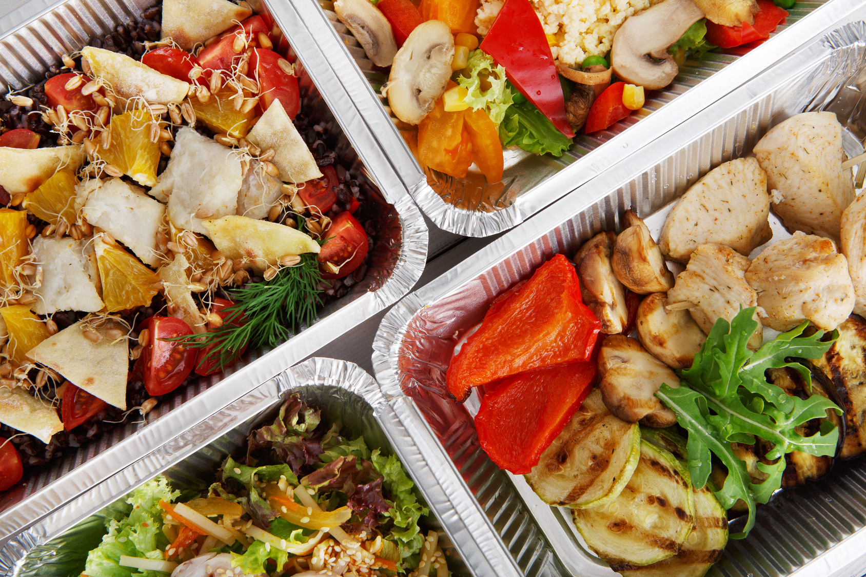Prepared meals in container